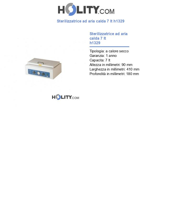 Sterilizzatrice ad aria calda 7 lt h1329
