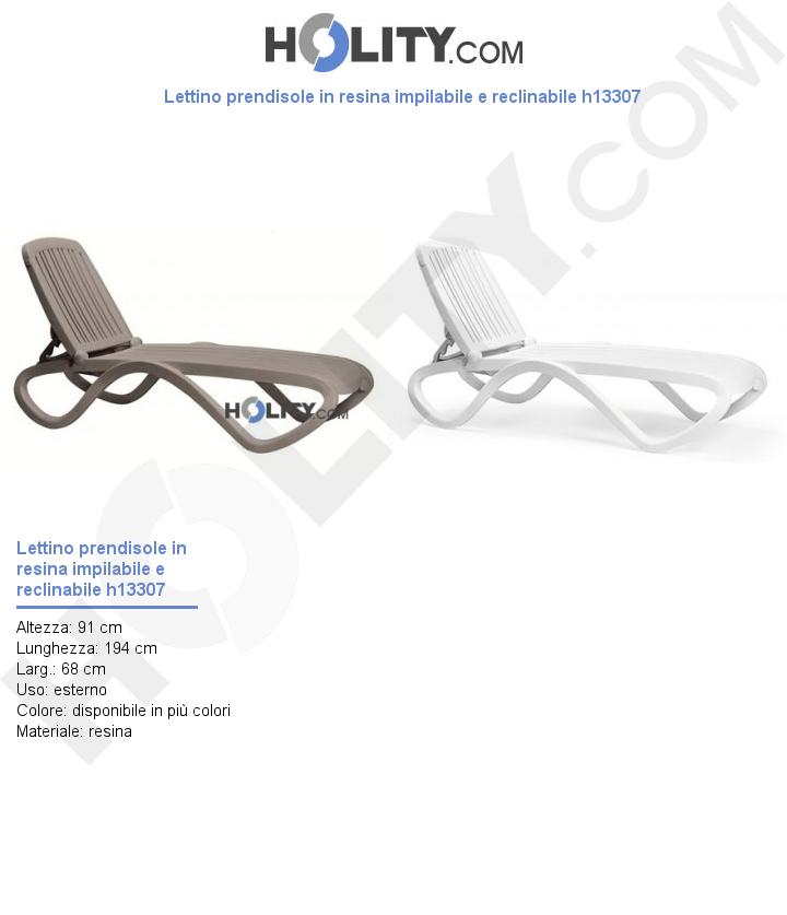 Lettino prendisole in resina impilabile e reclinabile h13307
