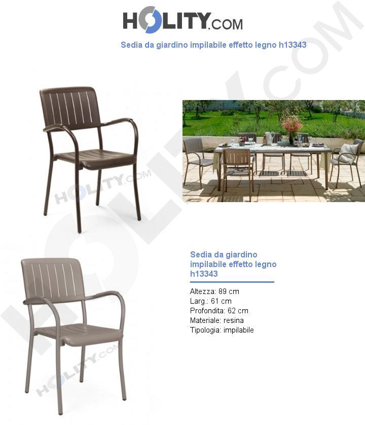 Sedia da giardino impilabile effetto legno h13343