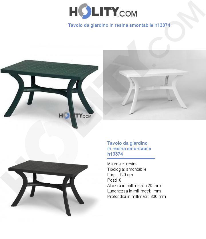 Tavolo da giardino in resina smontabile h13374