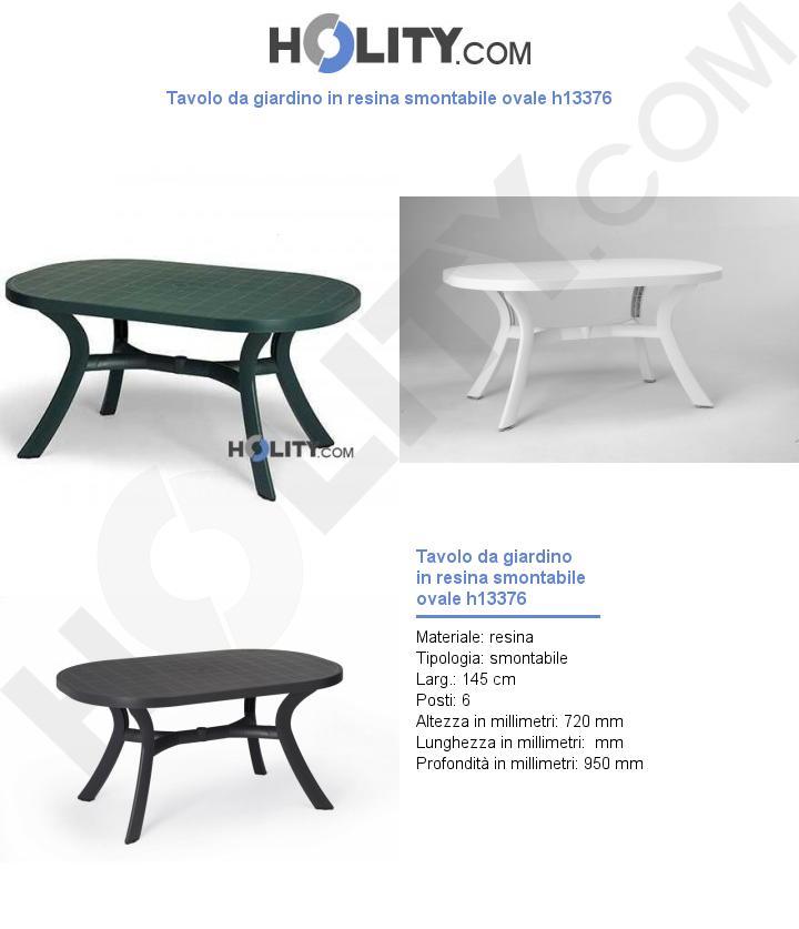 Tavolo da giardino in resina smontabile ovale h13376