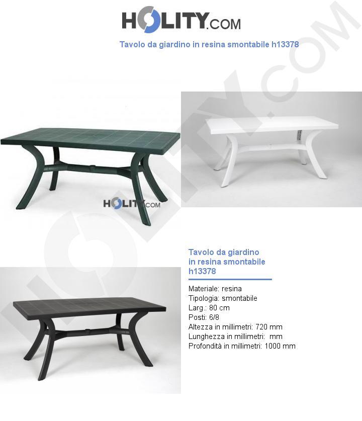 Tavolo da giardino in resina smontabile h13378