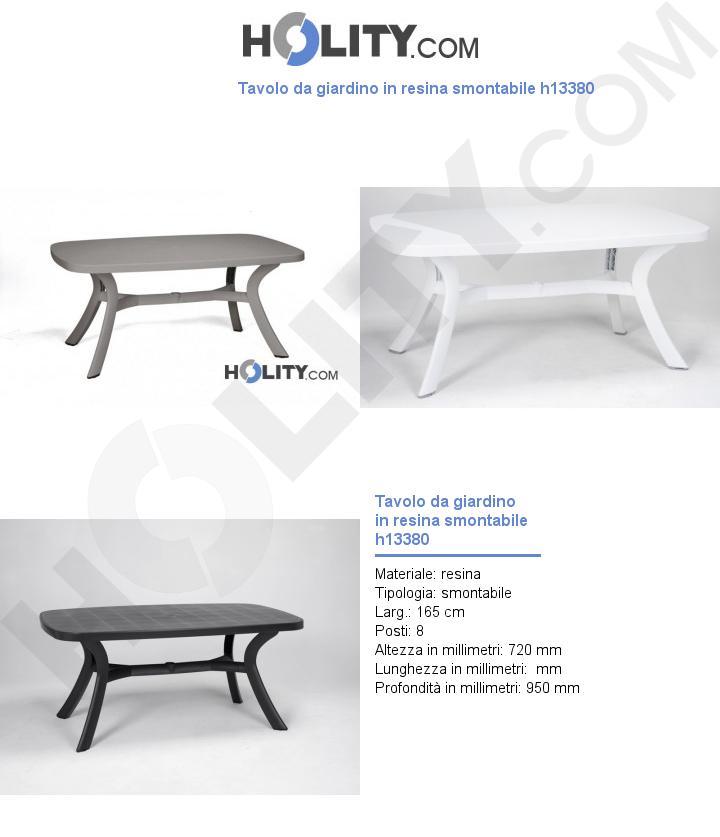 Tavolo da giardino in resina smontabile h13380