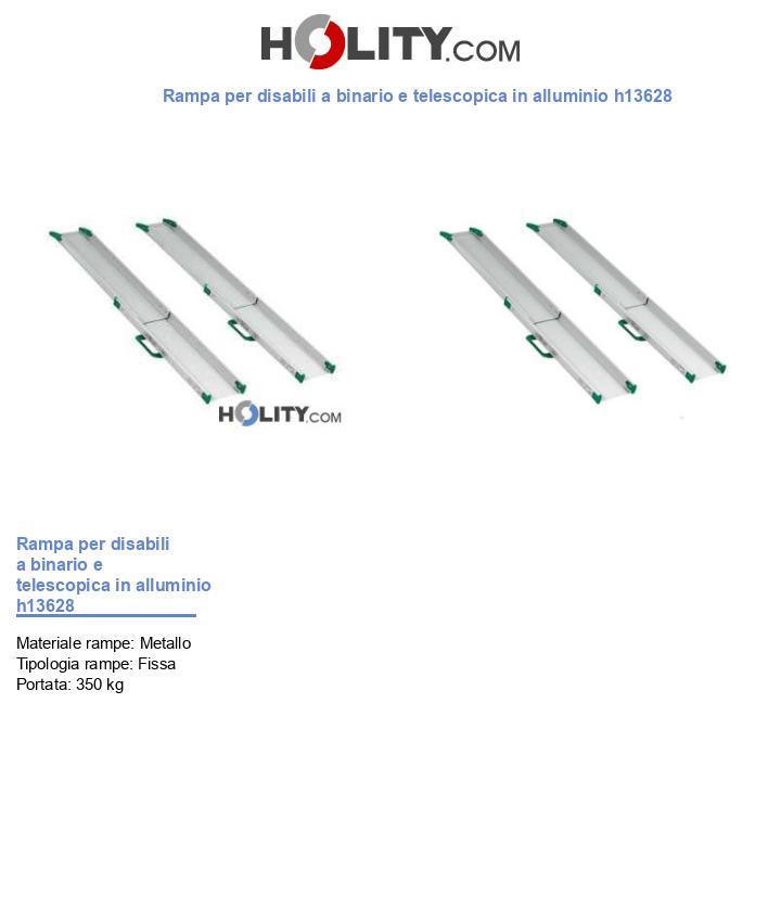 Rampa per disabili a binario e telescopica in alluminio h13628