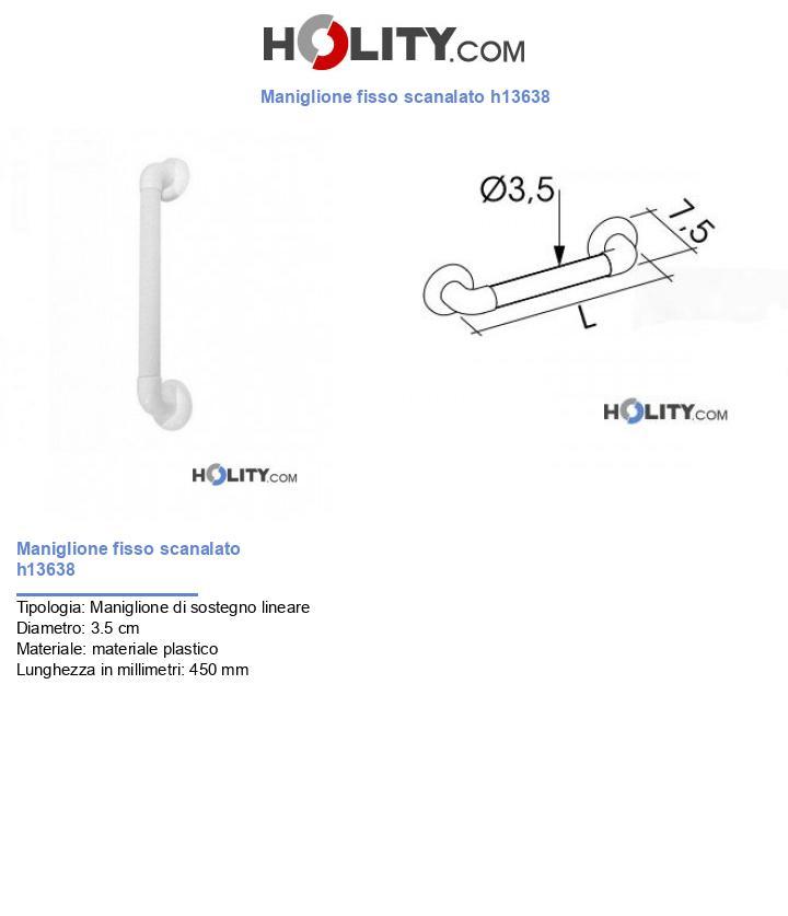 Maniglione fisso scanalato h13638