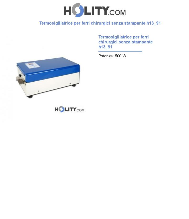 Termosigillatrice per ferri chirurgici senza stampante h13_91