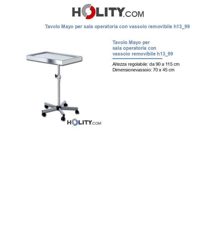 Tavolo Mayo per sala operatoria con vassoio removibile h13_99