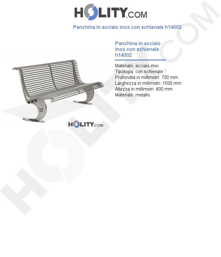 Panchina in acciaio inox con schienale h14002