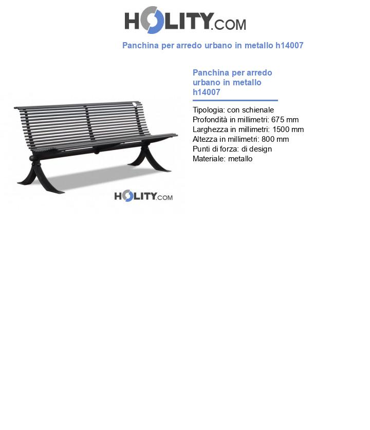 Panchina per arredo urbano in metallo h14007