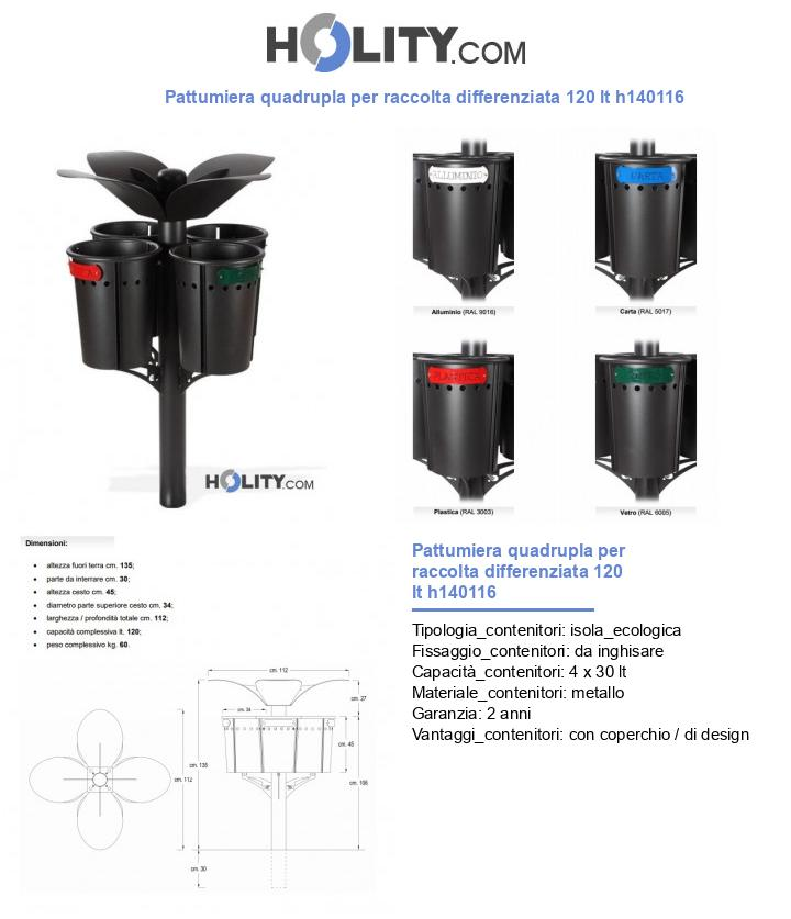 Pattumiera quadrupla per raccolta differenziata 120 lt h140116