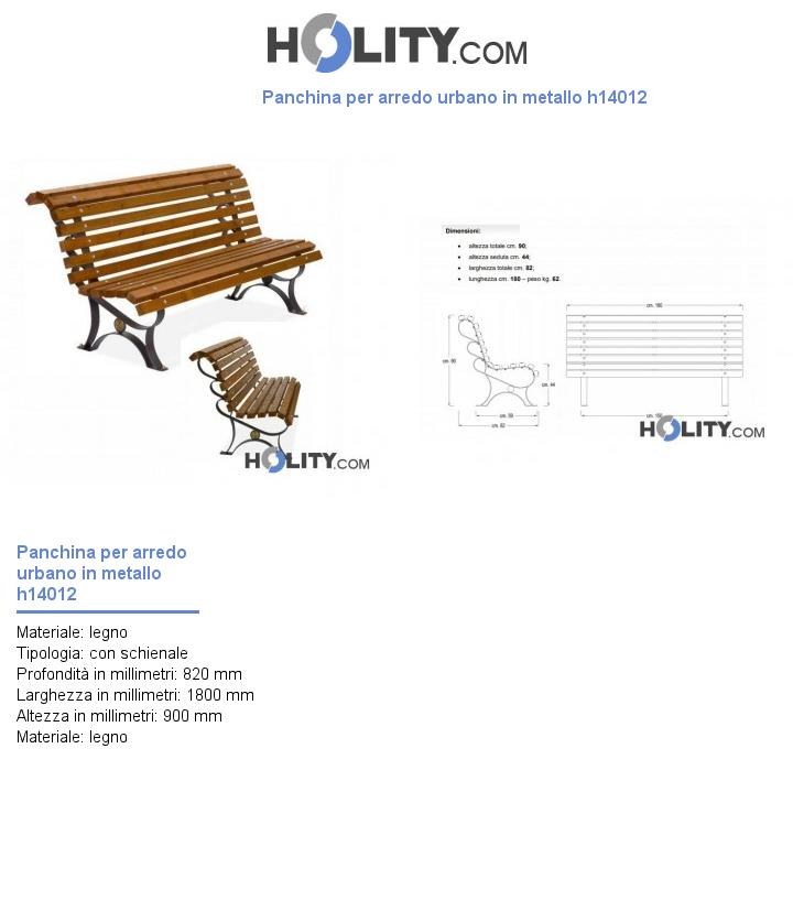 Panchina per arredo urbano in metallo h14012