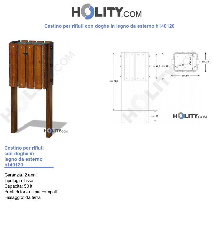 Cestino per rifiuti con doghe in legno da esterno h140120