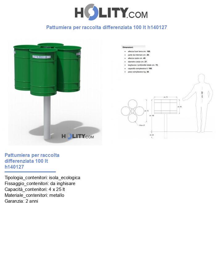 Pattumiera per raccolta differenziata 100 lt h140127