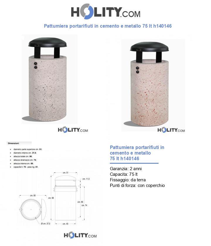 Pattumiera portarifiuti in cemento e metallo 75 lt h140146