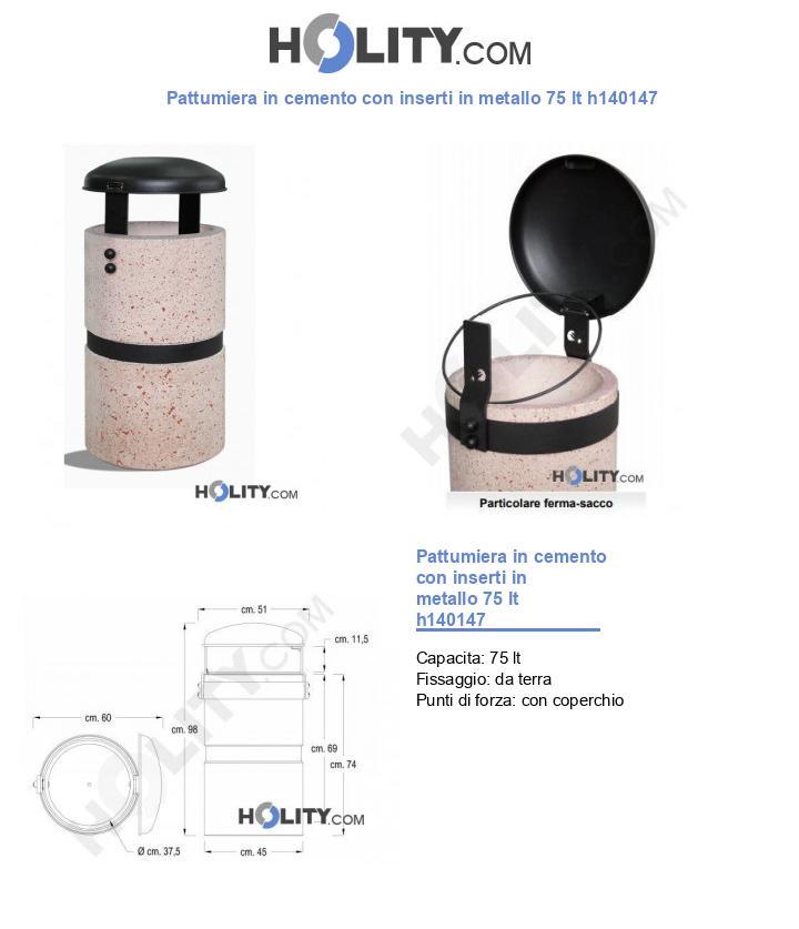 Pattumiera in cemento con inserti in metallo 75 lt h140147