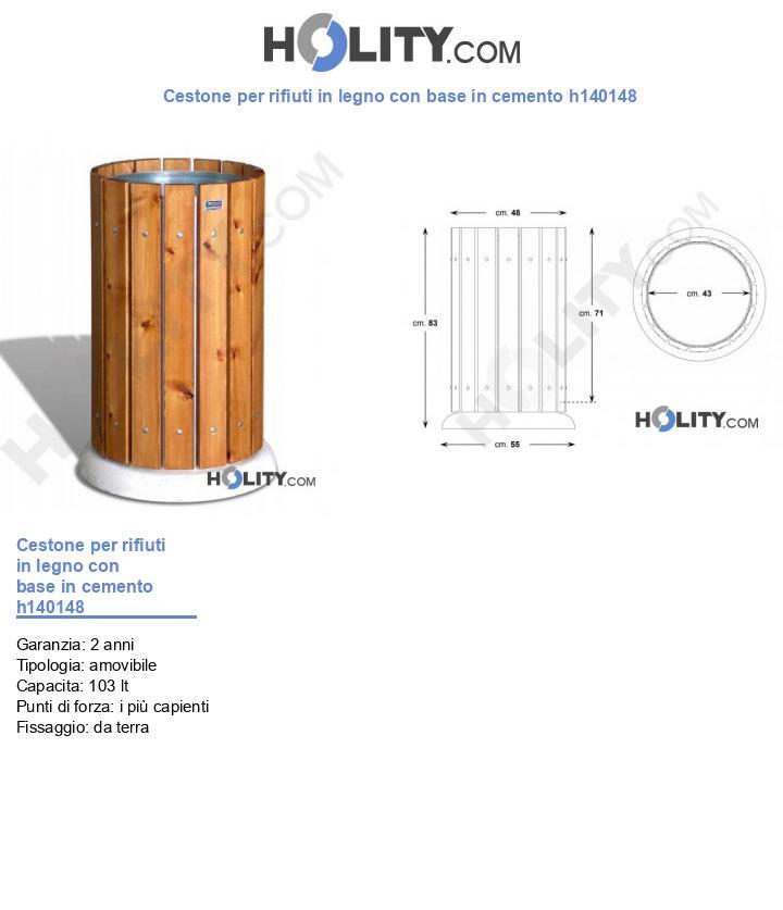 Cestone per rifiuti in legno con base in cemento h140148