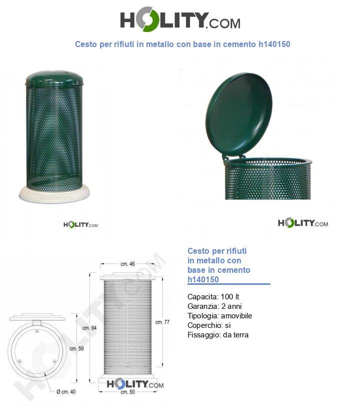 Cesto per rifiuti in metallo con base in cemento h140150