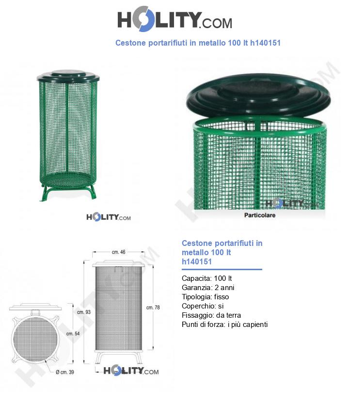 Cestone portarifiuti in metallo 100 lt h140151
