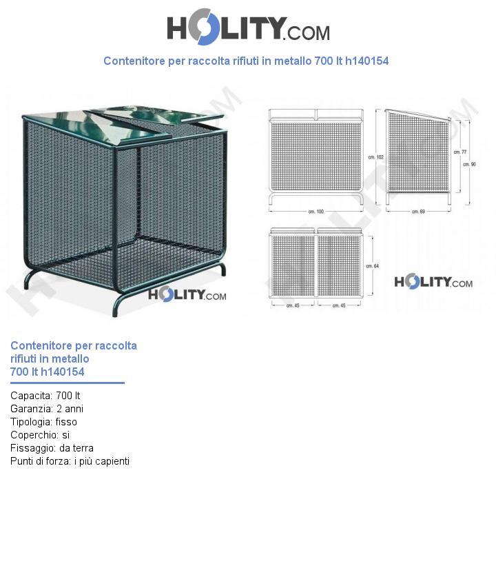 Contenitore per raccolta rifiuti in metallo 700 lt h140154