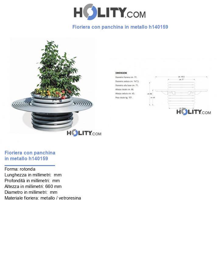 Fioriera con panchina in metallo h140159