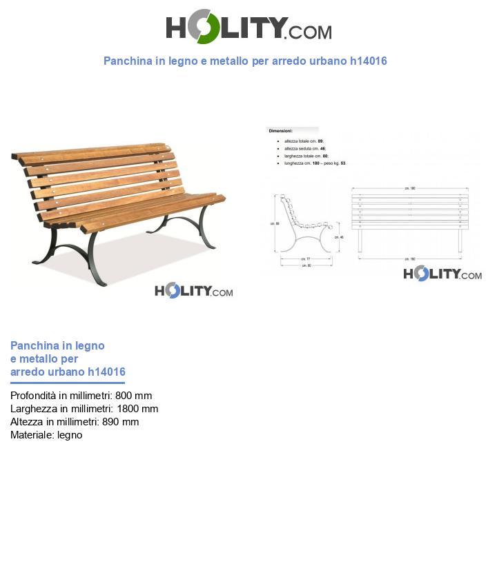 Panchina in legno e metallo per arredo urbano h14016