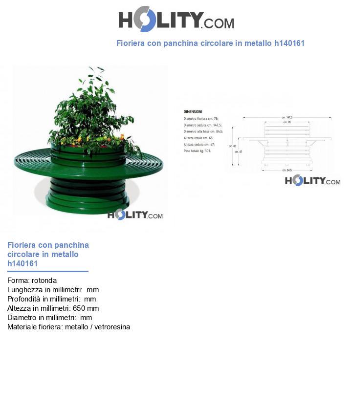 Fioriera con panchina circolare in metallo h140161