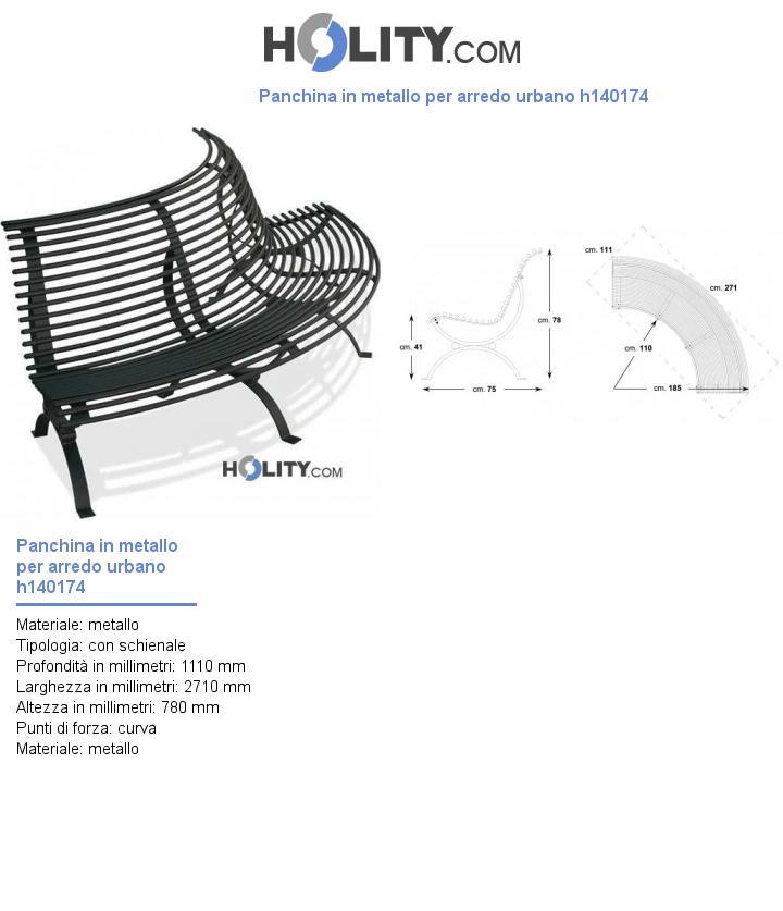 Panchina in metallo per arredo urbano h140174