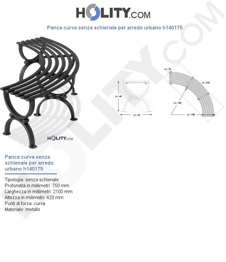 Panca curva senza schienale per arredo urbano h140175