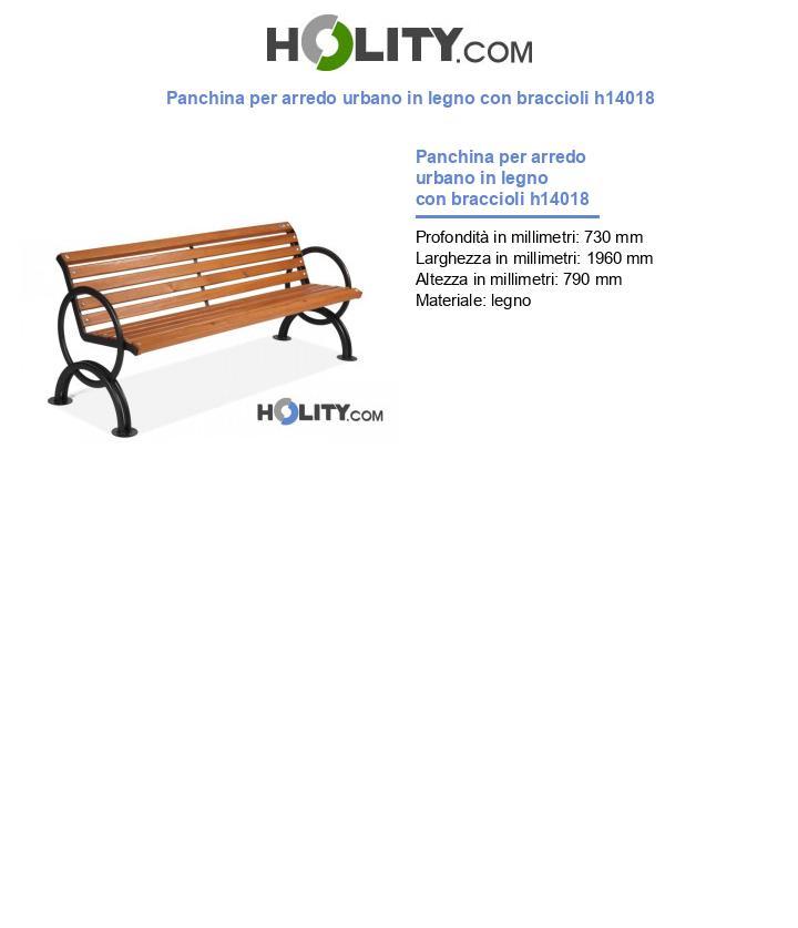 Panchina per arredo urbano in legno con braccioli h14018
