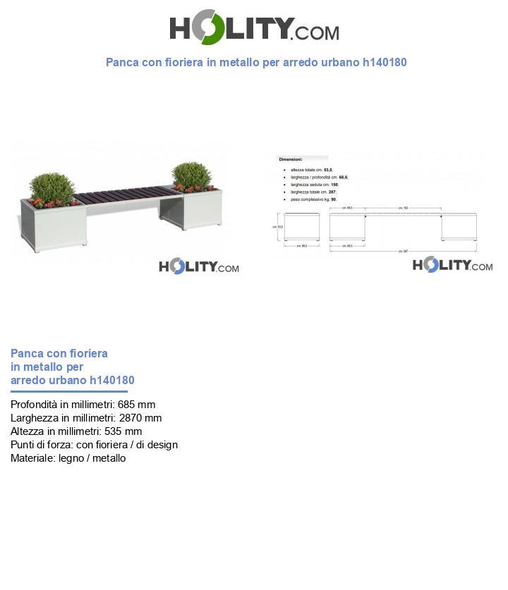 Panca con fioriera in metallo per arredo urbano h140180