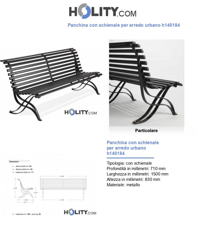 Panchina con schienale per arredo urbano h140184