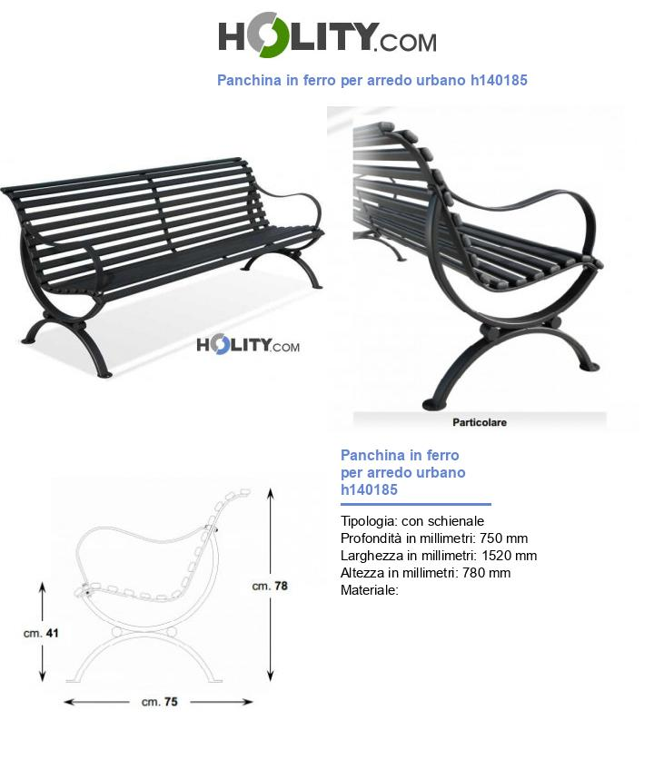 Panchina in ferro per arredo urbano h140185