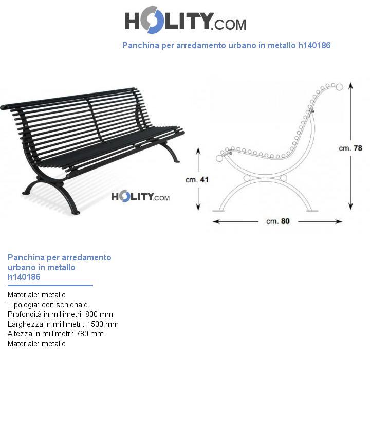 Panchina per arredamento urbano in metallo h140186