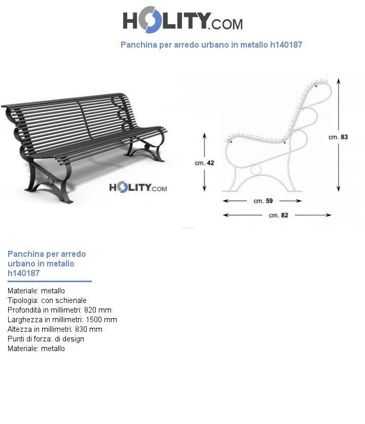 Panchina per arredo urbano in metallo h140187