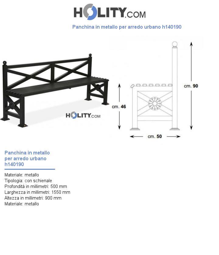 Panchina in metallo per arredo urbano h140190