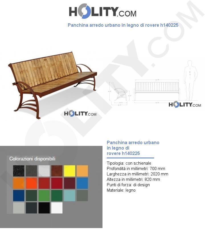 Panchina arredo urbano in legno di rovere h140225
