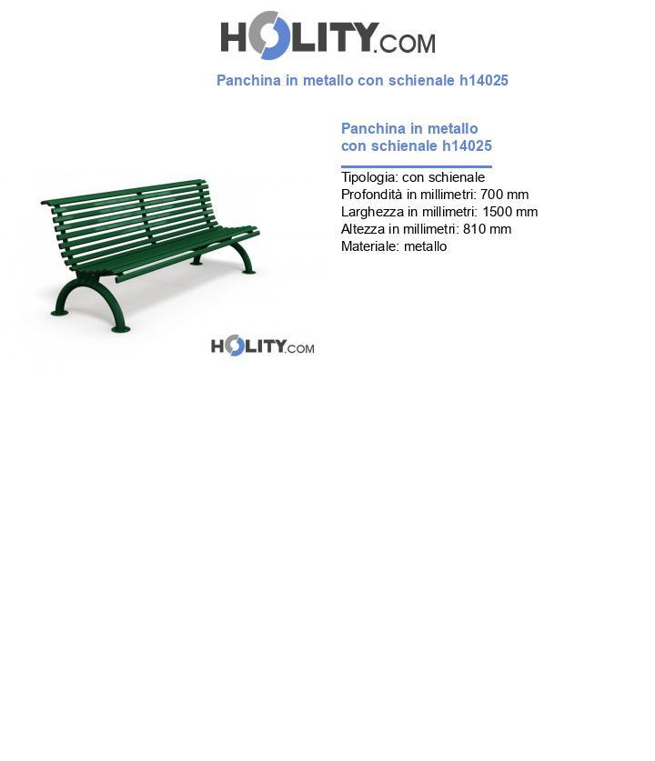 Panchina in metallo con schienale h14025