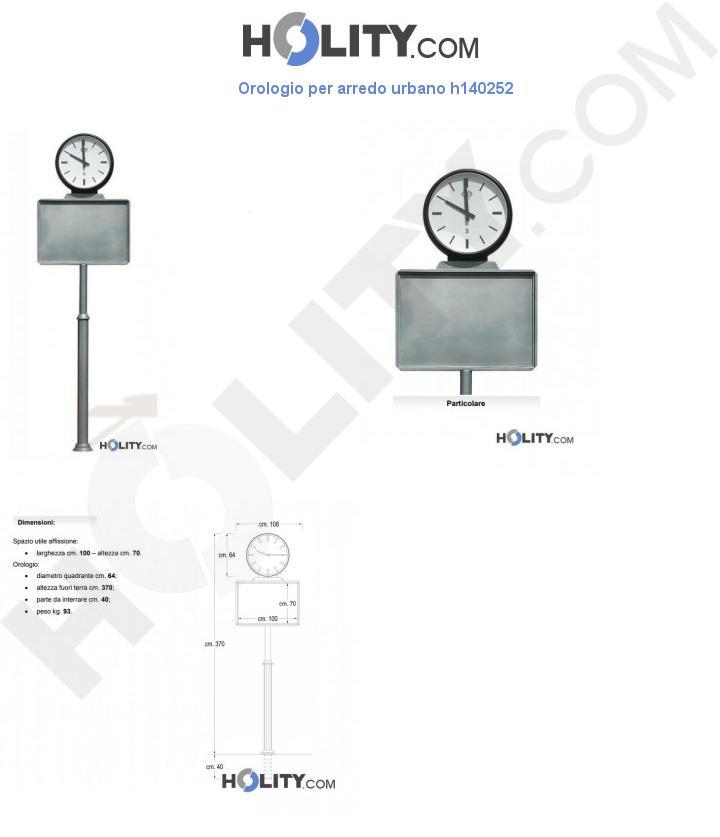 Orologio per arredo urbano h140252