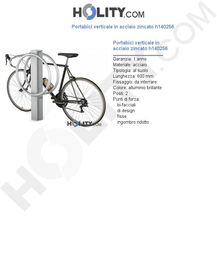 Portabici verticale in acciaio zincato h140256