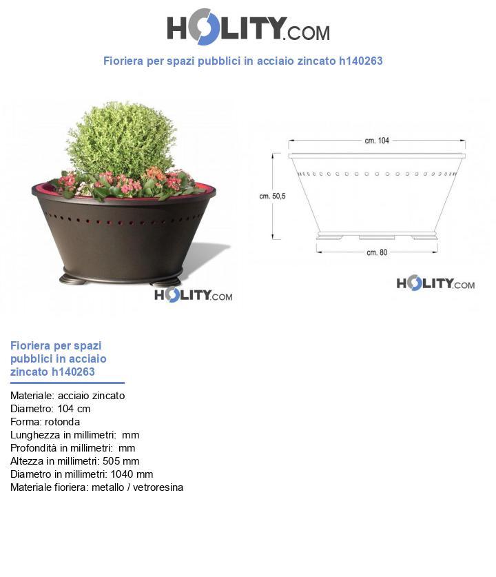 Fioriera per spazi pubblici in acciaio zincato h140263