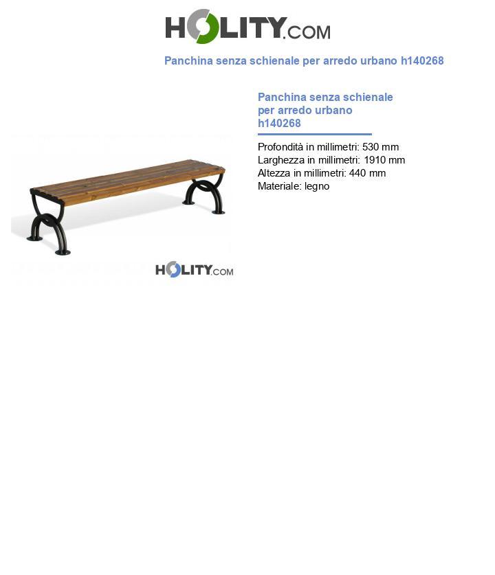 Panchina senza schienale per arredo urbano h140268