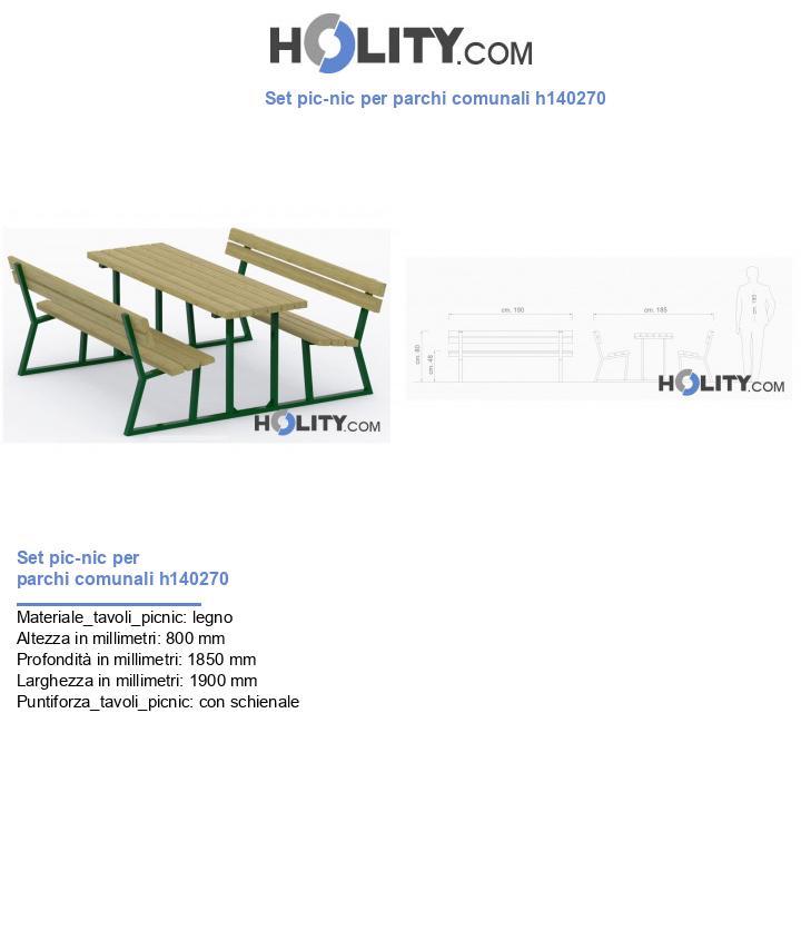 Set pic-nic per parchi comunali h140270