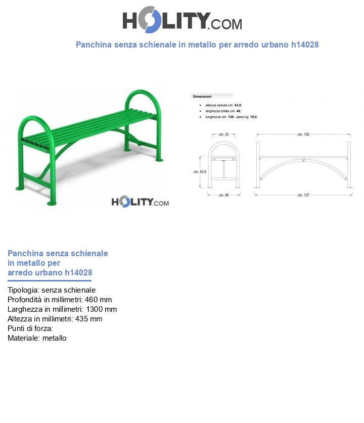 Panchina senza schienale in metallo per arredo urbano h14028