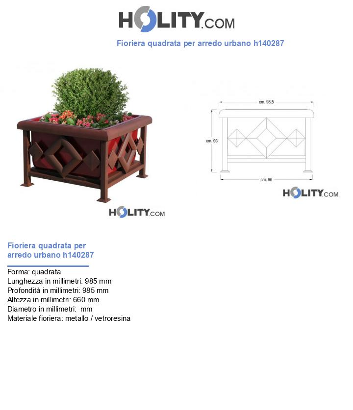 Fioriera quadrata per arredo urbano h140287