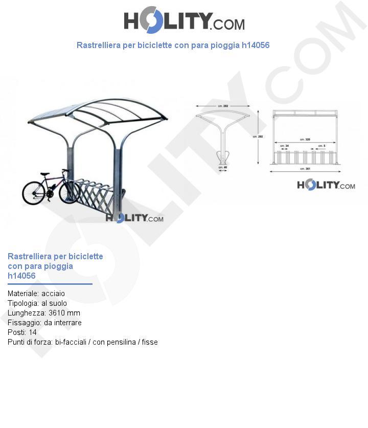Rastrelliera per biciclette con para pioggia h14056