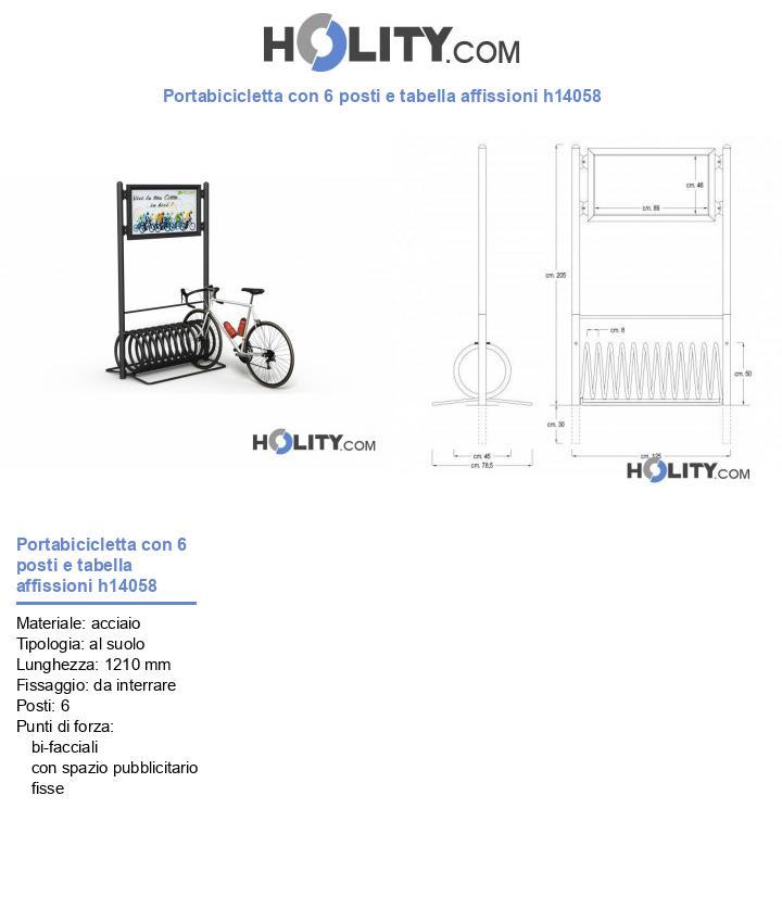 Portabicicletta con 6 posti e tabella affissioni h14058