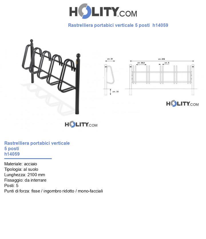 Rastrelliera portabici verticale 5 posti  h14059