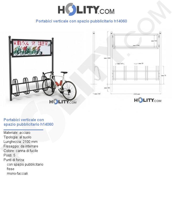 Portabici verticale con spazio pubblicitario h14060