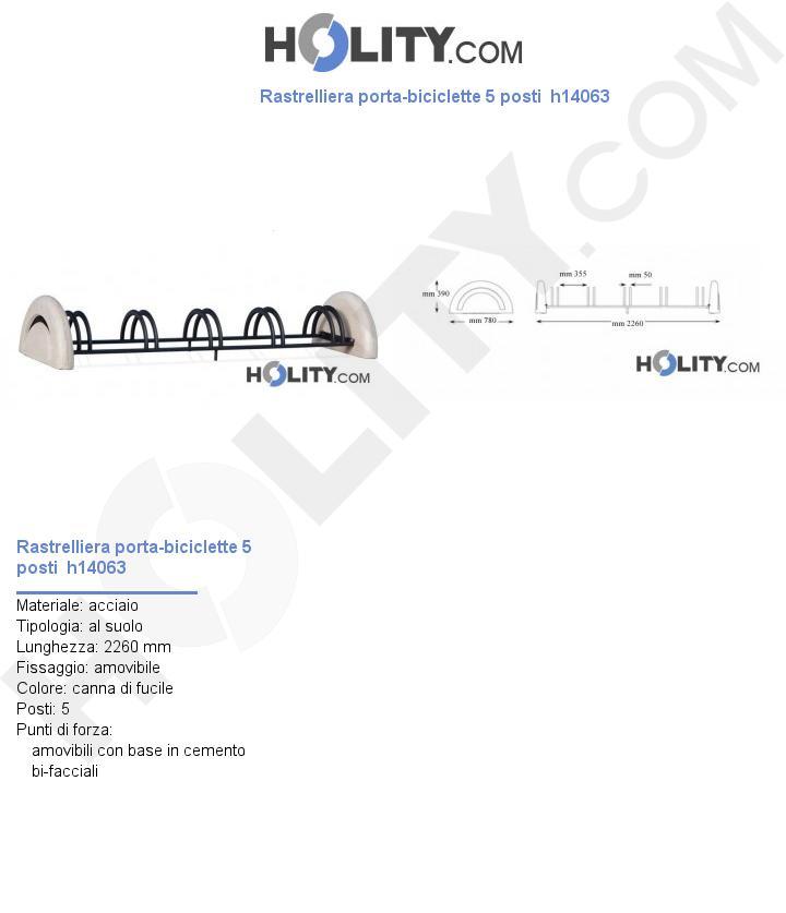 Rastrelliera porta-biciclette 5 posti  h14063