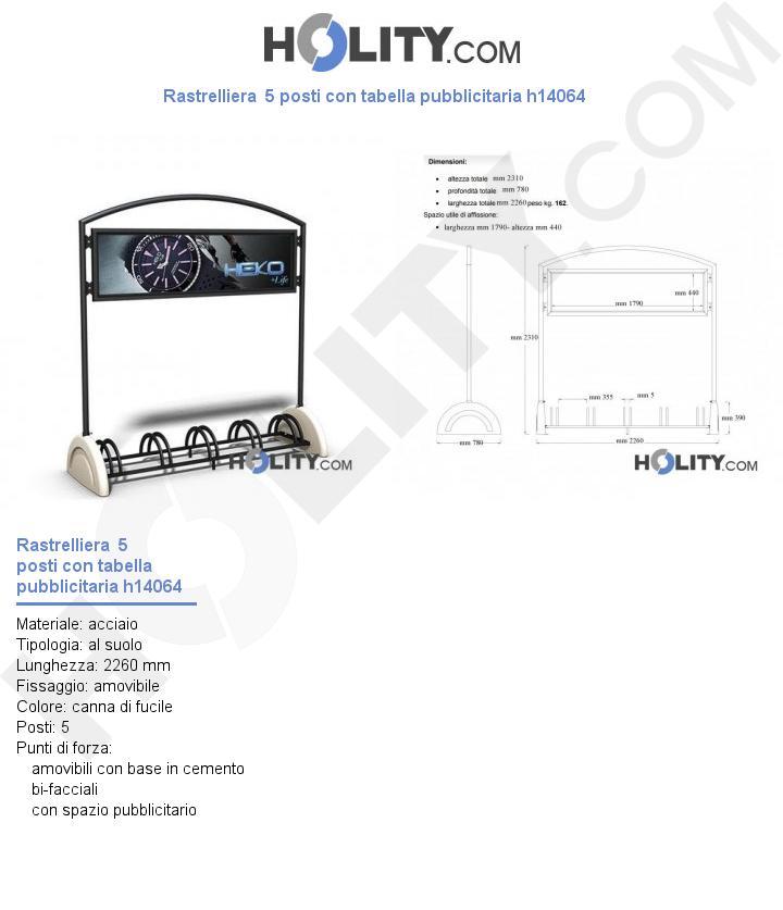Rastrelliera  5 posti con tabella pubblicitaria h14064